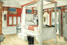 A watercolor by Carl Larsson shows his bedroom in the 1890s, with bookshelves serving as a colorful frieze around the room