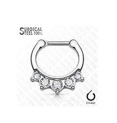 Septum Clicker mit 5 kristall Steinen Septum Piercings, Septum Clicker, Personalized Items, Crystals