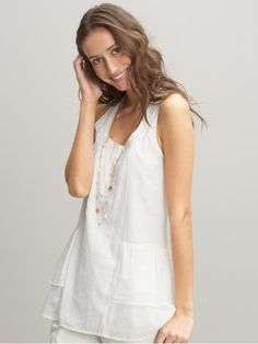 Embroidered Ruffle Tank $34.99