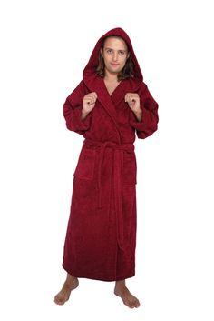 Men s Full Length Hooded Terrycloth Bathrobe 0cb610678