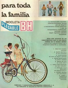 Anuncio BH Folding Bicycle, Cycling Art, Vintage Love, Vintage Advertisements, Vintage Posters, Nostalgia, Advertising, Bike, Memes