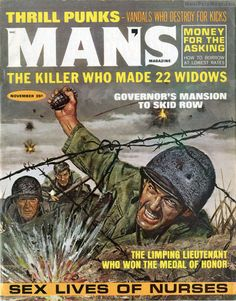 https://flic.kr/p/xBfo1a | MAN'S MAGAZINE, Nov. 1966. Cover by Mel Crair | The great male model Steve Holland was often used for multiple characters in men's adventure magazine illustrations, as he was in this cover painting by artist Mel Crair, for MAN'S MAGAZINE, November 1966.