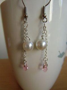 Swarovski!!! pearl and pink Swarovski beads simple cute earrings