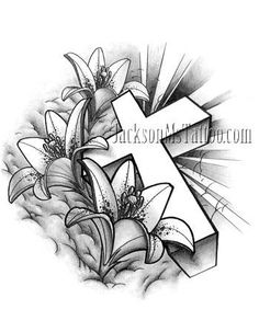 cross lily flower tattoo design by jacksonmstattoo - lily tattoo sketch Rose Drawing Tattoo, Flower Tattoo Drawings, 1 Tattoo, Flower Tattoo Designs, Tattoo Sketches, Arm Band Tattoo, Lily Tattoo Design, Cross Tattoo Designs, Lily Flower Tattoos