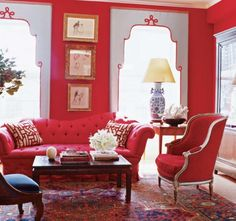 Red is red in a living room!