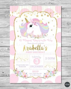 Unicorn Invitation Unicorn Birthday Invitation Glitter Unicorn