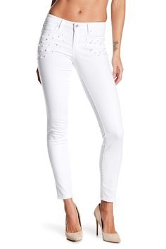Add a touch of elegance to your classic jean collection with the pearl embellished figure hugging skinny jeans. Zip fly with button closure. Five pocket construction. Nordstrom Rack, White Jeans, Capri Pants, Skinny Jeans, Pearls, Fashion, Moda, Capri Trousers, Fashion Styles