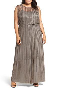 Beaded Mesh Blouson Gown (Plus Size)