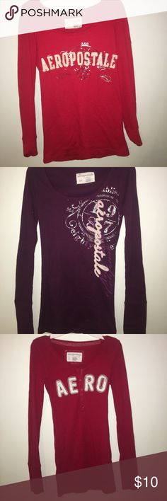 bundle of 4 women's aero long sleeve tshirts 4 shirts from aeropostale! 1x bright red not button up, 2x purple not button up, 3x darker red button up, 4x navy blue button up. ALL FOR 10 Aeropostale Tops Tees - Long Sleeve