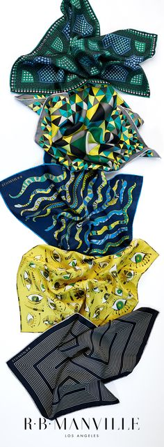 Original hand-printed silk pocket squares featured in December Issue of TraditionalHome magazine's Nice List. Pocket Square Guide, Pocket Square Styles, Textile Patterns, Print Patterns, Boho Fashion, Mens Fashion, Fashion Trends, Men's Pocket Squares, Square Quilt