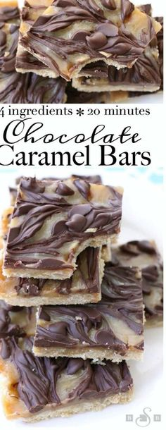 Chocolate Caramel Bars made with just 4 simple ingredients! Easy buttery crust topped with a quick caramel then swirled with melted chocolate.Best #caramel bars ever! #Dessert from Butter With A Side of Bread ...of lowcarb desserts and snacksThese can be good products for those on a carbavoidance diet and are pretty tasty low carb chocolates although the bar f... chocolate is the perfect indulgence Just like the sugar sweetened ones low carb cause you to feel good on the inside because it… Melted Chocolate, Low Carb Chocolate, Chocolate Desserts, Gluten Free Cookies, Gluten Free Desserts, No Bake Desserts, Quick Easy Desserts, Summer Desserts, Matzo Meal