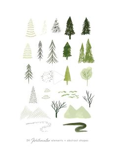 Watercolor forest trees clipart set, abstract woodland illustrations by Belle #illustration Woodland Illustration, Tree Illustration, Botanical Illustration, Watercolor Illustration, Tatoo Tree, Tree Clipart, Forest Drawing, Illustration Botanique, Affinity Designer