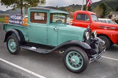 Ford Model A parked side-by-side with F-1 pickup seen at the Temecula Rod Run, California  #temecula