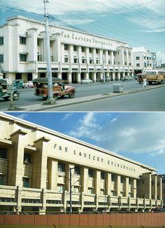 The Far Eastern University along Quezon Avenue in Quiapo Manila in 1950 and in Happy Founding Anniversary, FEU! Philippine Architecture, Philippines Culture, Cebu City, Thing 1, Baguio, Manila, Building Design, Old Photos, Skyscraper