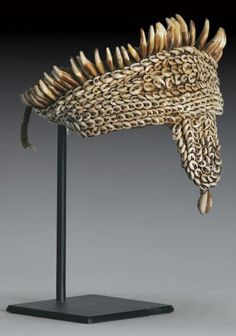 Papua New Guinea   Headdress made from Nassa and cowrie shells, dog theeth and vegetable fibers