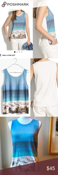 Madewell Cotton Beachday Shift Tank Sz XS Madewell Cotton Beachday Shift Tank Sz XS. PRODUCT DETAILS This slightly slouchy muscle tee is the perfect backdrop for our cool ultimate-beach-day print.    True to size. Cotton. Machine wash. Import. Item A4768.  ***Stain at Top breast-see photos. Price adjusted for flaw. Probably fixable but I'm not too handy with the soap so feel free to steal this low cost item and fix it up yourself!   ✨Offers welcome✨ ID3 locg Madewell Tops Muscle Tees