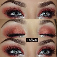 Who's ready for Halloween👻 but not sure how to wear your makeup.try a bold red w/ glimmering glitter💎 STEPS⬇️ Shadows & Glitter by… Red Eye Makeup, Simple Eye Makeup, Pretty Makeup, Stunning Makeup, Prom Makeup, Devil Makeup Halloween, Halloween Eyes, Devil Halloween Costumes, Red Smokey Eye