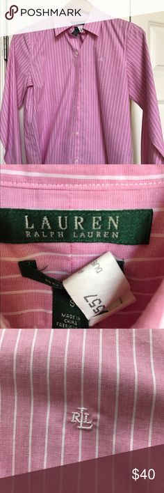 Ralph Lauren Pink Pinstriped Button Down Sz Small Classic RL button down in pink and white pinstripes.  Small logo on left breast.  In perfect condition- always dry cleaned. Ralph Lauren Tops Button Down Shirts