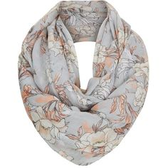 Grey Floral Print Snood ($13) ❤ liked on Polyvore featuring accessories, scarves, floral infinity scarf, circle scarf, floral scarves, gray shawl and infinity scarf