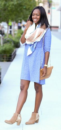 blanket scarf, sweater dress and ankle booties -- a super adorable casual outfit for fall!