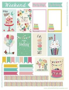 FREE Birthday Planner by Victoria Thatcher frames, flags, macaron ice cream cakes