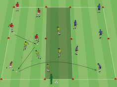 "This is a great possession game to get players sharp on the ball, linking up with teammates, and delivering quality passes. Set up: Set up a playing field with three zones as shown in the diagram. I usually make the outside zones 20×10 yards depending on the number of players and the middle zone 20×5. … Continue reading ""Three Grid Possession Drill"""