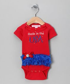 Take a look at this Red Made in the USA Skirted Bodysuit - Infant by Little Diva on #zulily today!