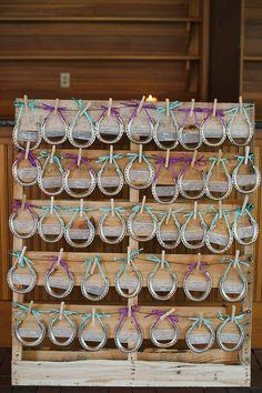 Western Wedding Ideas - Horseshoe table chart  Read More: http://www.stylemepretty.com/2014/05/24/horse-farm-wedding-in-saratoga-springs-new-york/