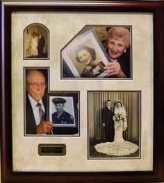 Photo collages are all about telling a story.  See a custom picture framer to help you design a mat and frame that will help you tell yours!
