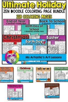 118 Coloring Sheets to keep your students busy for the ENTIRE YEAR! Mindful, zen, coloring sheets for all ages. All 118 pages are hand drawn by Ms Artastic. These coloring sheets are very detailed and are a great way to get into seasonal themes in your cl