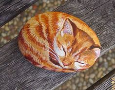Hand painted rock. Sleeping ginger tabby kitten by     Alika Kalaida