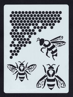 Bee and Honeycomb Stencil (Nature 002)