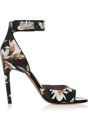 GivenchyShark Lock sandals in magnolia-print leather