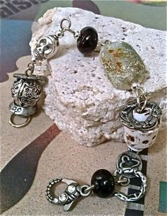 Boho Style, Faux roman glass,Vintage glass bracelet   by OutOfTimeDesigns for $45.00