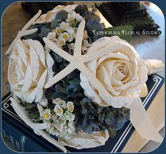 Nautical Wedding Bouquet With Roses Starfish And Hygrangea