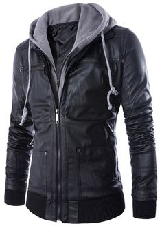 d3912ac90d4 CoCool Men s Premium Fake Twp Pieces PU Leather Motorcycle Rider Bomber  Jacket with Hoodie  Amazon