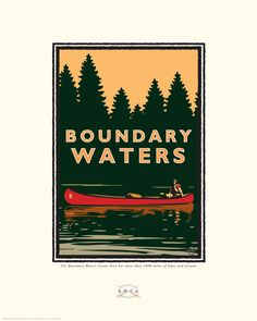 Landmark Series, Boundary Waters, MN by renowned Graphic Illustrator, Mark Herman. Giclée print on matte paper, ready for framing. Minnesota Historical Society, Reclaimed Wood Frames, Water Printing, Boundary Waters, Canoe Trip, Saturated Color, Vintage Travel Posters, Vintage Art, Framed Art
