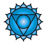 Vishuddha (blue)  This energy center is localized in the throat area and relates to communication and self-expression . . . the ability to voice our dreams. When our center of communication is clear, we're able to express our truth without worrying about what others may think. In contrast, with a congested fifth chakra, we feel anxious about how other people will react to our views and are likely to censor ourselves