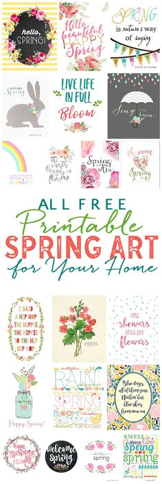Pretty Free Spring Printables: Spring Art For Your Home! Add a touch of spring to your home easily and quickly with these beautiful spring printables! Grab a frame and add a print in less than 5 minutes! Happy Spring, Hello Spring, Spring Art, Spring Crafts, Spring Time, Happy Planner, Easter Crafts, Easter Decor, Printable Wall Art