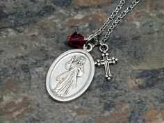 Divine Mercy Medal Necklace with Swarovski by MarysGardenRosaries
