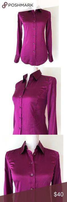"""Armani Exchange Button Down Blouse Silky Purple Details: A/X Armani Exchange Button Down Blouse -In great pre-owned condition with no rips or stains -Button down -Two button cuff -Color: Plum Purple -Fabric: Material tag is missing but blouse feels silky -Size: X-Small -Approx. 30"""" Chest -Approx. 29"""" Sleeve -Approx. 25"""" Length A/X Armani Exchange Tops Blouses"""