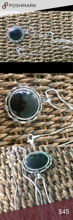"""925 SS ONYX DISC NECKLACE W/SS CHAIN☀️ ESTATE SALE Beautiful 22"""" SS Box chain with an onyx disc encased in a ribboned Sterling setting.  Disc is 1 3/8"""" in diameter. Estate sale pendant but new chain. Jewelry Necklaces"""