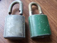 2 VINTAGE Pad Locks Great for Crafts Small by AllinthePast