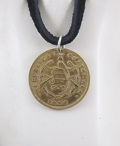 Guatemala Coin Necklace Coin Pendant Leather by AutumnWindsJewelry