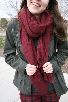 Graceful Rags | How to Rock Plaid Pants | I love burgundy and army green together! Such a great color scheme