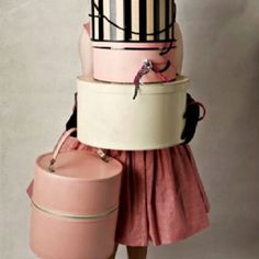 Skirt, hat boxes