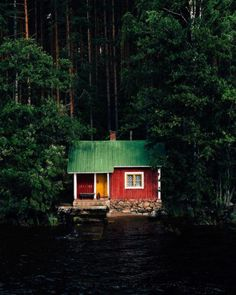 "wanderthewood: "" A mökki, Finnish summer cottage on Lake Kallavesi - Kuopio, Finland by jn "" Future House, My House, Lake Cabins, Cabins And Cottages, Little Cabin, Little Houses, Red Houses, Cabin In The Woods, Cottage In The Woods"