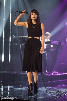 Lauren Mayberry of Chvrches performs during filming of The Graham Norton Show, at The London Studios, south London, to be aired on BBC One on Friday evening. Photo by Matt Crossick