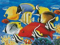 Artecy Cross Stitch. Coral Fish Cross Stitch Pattern to print online.