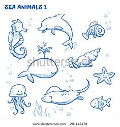 Cute cartoon sea water animals. Whale, fish, dolphin, jellyfish, seahorse, snail, ray, starfish. Hand drawn doodle vector illustration. - stock vector
